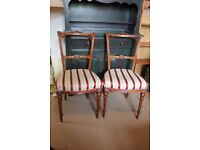 Pair of Antique Walnut Parlor / Bedroom Chairs