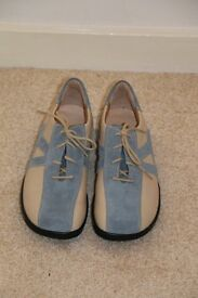 Ladies flat lace up shoes ,Blue and beige suede. broad fitting. size 5/6.