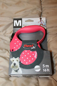 Flexi Retractable Lead - Pink PolkaDot - Size M - Brand New