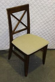 NEW & BOXED 8 x TEAK DARK WOOD DINING CHAIRS WITH FABRIC SEAT WORTH £1000