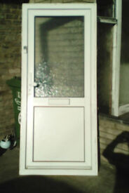 White upvc door with obscure glazing to the top only