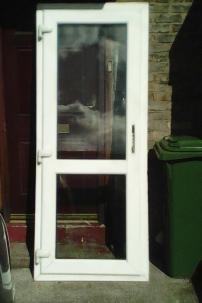 white upvc door with clear to top and bottom panels