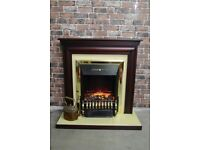 Electric fire and surround mahogany £45