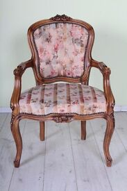 BEAUTIFUL LOUIS FRENCH STYLE CARVER CHAIR PINK FLORAL - CAN DELIVER UK WIDE