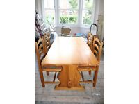 Artisan solid pine table and 4 ladder back chairs