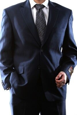 MENS SINGLE BREASTED 2 BUTTON NAVY DRESS SUIT SIZE 36R, PL-60212N-203-NAV