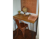Rustic Chestnut Industrial Vintage Style Desk & Copper Chair Hairpin Legs