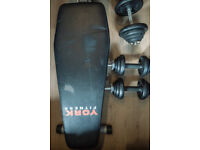 York cast iron Dumbell set and bench