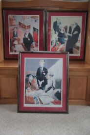 Set of Three Signed Legal Caricature Prints by Hugh Dodd.