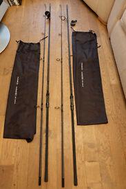 2 x Chub Outkast 50 - 12'6 3.25lb Carp fishing rods
