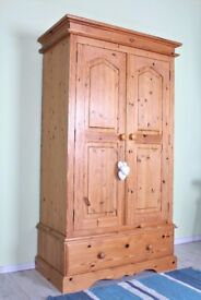 DELIVERY OPTIONS - QUALITY MADE SOLID PINE DOUBLE WARDROBE 1 LARGE DRAWER