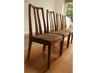 Four retro style, teak, nathan dining chairs (the master craftsmen)