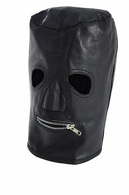 Zipper Mouth Mask (Genuine Leather Zipper Mouth Hood /)