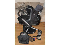 Black Quinny Buzz Pram, Carry Cot, Car Seat, Foot Muff, Travel Bag, Travel Mirrors & Parasol