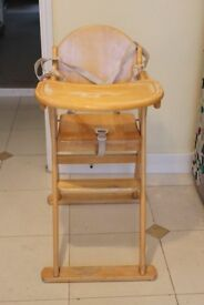 East Coast wooden high chair with harness