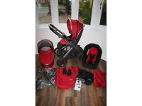 Red Babystyle Oyster2 (Oyster 2) pram pushchair with car seat 3 in 1 CAN POST
