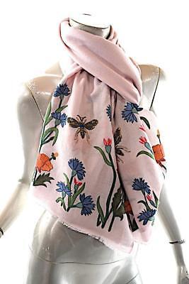 "JANAVI India Powder Pink Cashmere Fauna HAND Embroidered Beaded Shawl 79"" x 28"""