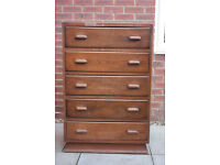 Vintage retro solid oak chest of 5 drawers, ideal shabby chic project!