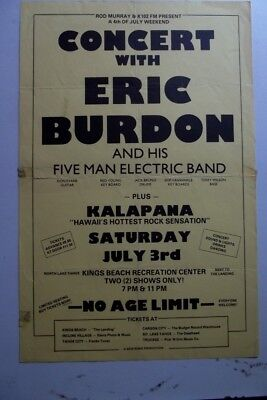 vintage org ERIC BURDON 5 MAN ELECTRIC BAND 11x17 Punk Flyer poster rock animals
