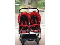 Stroll-Air My Duo double buggy pushchair with car seat adaptor and accessories