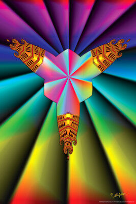 Cross In Prism Fractal Spirit Colorful Psychedelic Art Print Poster - 12x18