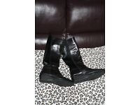 black soft leather knee high boots size 6