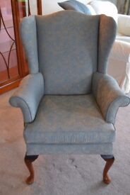 Parker Knoll Blue and Gold Arm Chair