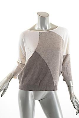 KINROSS Tri-color 100% Cashmere color Block Crewneck Sweater Sz M Ivory Taupe