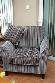 Accent chair. As new. Mix of colours, grey/ taupe/blue/black stripe. Large size.