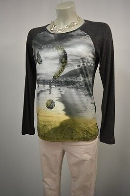 Graphit Langarm-shirt (Gerry Weber Shirt Langarm Gr. 38 m.Stretch Graphit mit Motiv TOP*826)