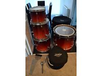"Mapex Pro M Drum Kit (24"" Bass Drum, 13"", 16"", & 18"" Toms + Matching 14"" Snare) + Cases"