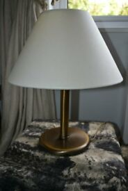 Table Bronze Lamp with cream fabric shade