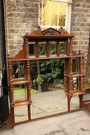 Victorian wooden framed mantel mirror
