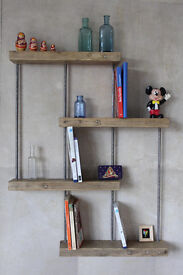 Shelving unit handmade from reclaimed wood and steel - 1970s 'gaybox' style