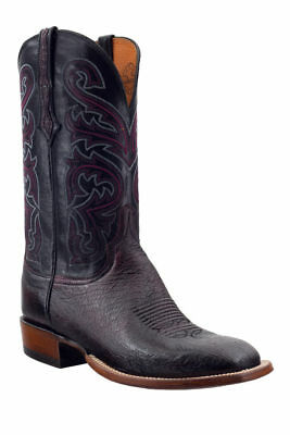 Lucchese Mens Cowboy Boots Black Cherry Smooth Ostrich CL1015.W8