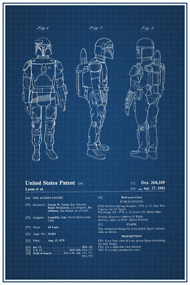 Bounty Hunter Toy Official Patent Blueprint Poster 12x18