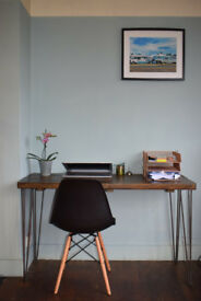 Industrial Writing Desk & Chair Mid Century Modern Style hairpin Legs 120x60cm