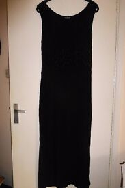 Ladies Long Black Party Dress, Attractive Self Patterned Waist by Amaranto, size 14 - 16, vgc,Histon