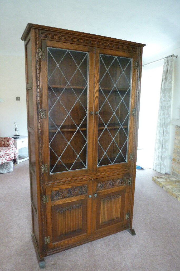 Old English Charm: WOOD'S 'OLD CHARM' QUALITY DISPLAY CABINET IN LIGHT OAK