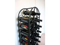 Black Metal Wine Rack for 28 Bottles