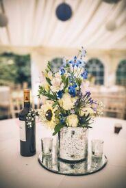 Wedding Centre Pieces - 12 Sliver Speckled Vases