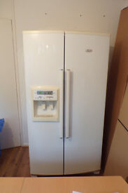 American-style fridge freezer - Whirlpool. Ice maker. Cold water dispenser. Must collect. £50