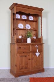 BEAUTIFUL SOLID PINE WELSH DRESSER WITH SPICE DRAWERS WAXED FINISH - CAN COURIER