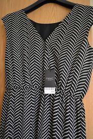 New Next Chevron Print Midi Dress Size12 RRP £40