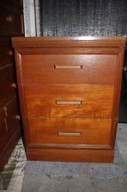 Wooden Bedside Table with 3 Drawers