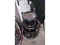 Black Premier Drums (Bass Drum, Toms X 2, Hi-Hats, Ride and Stands)