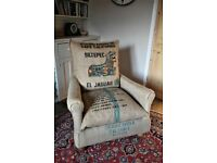 Armchair, Soft Coffee Sack, Hand stitched ,Bespoke and Quirky