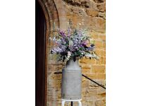 Pair of Milk Churns for wedding decoration flowers