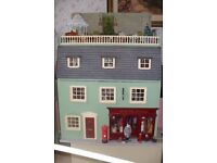 Dolls House with 3 floors and roof garden & furniture & figures