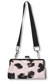 Cheap Monday Pink & Black Animal Smudge Print Clutch Bag.